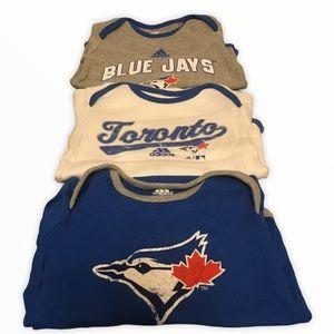 Lot of 3 Toronto Blue Jays Onesies 12M